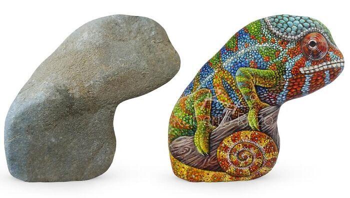 Artista transforma pedras em pinturas incríveis de animais (30 fotos) 28