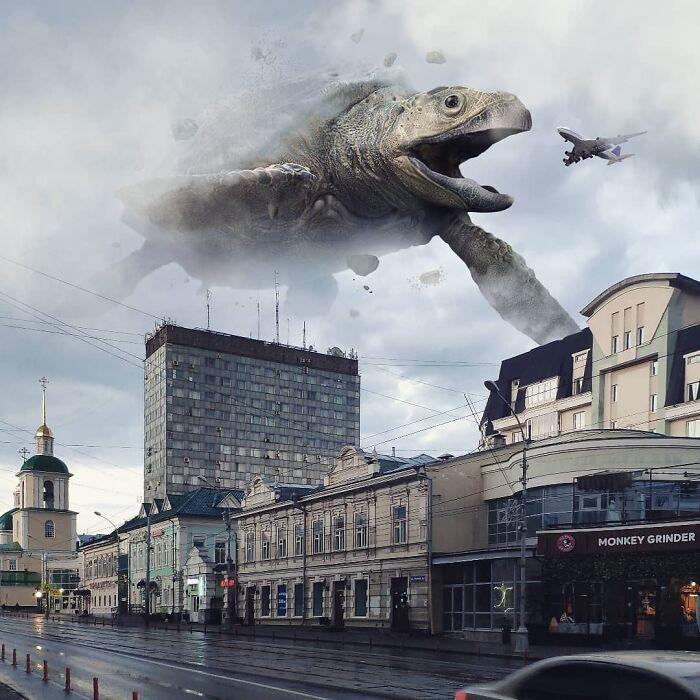 30 montagem de fotos inesperadas com animais gigantes por Vadim Solovyev 12
