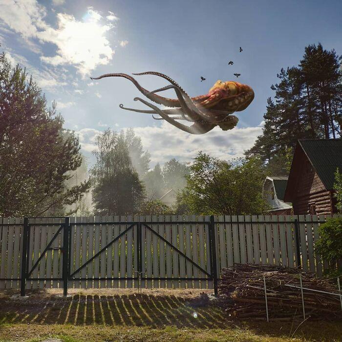 30 montagem de fotos inesperadas com animais gigantes por Vadim Solovyev 16