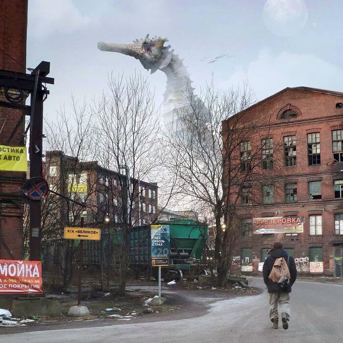 30 montagem de fotos inesperadas com animais gigantes por Vadim Solovyev 26