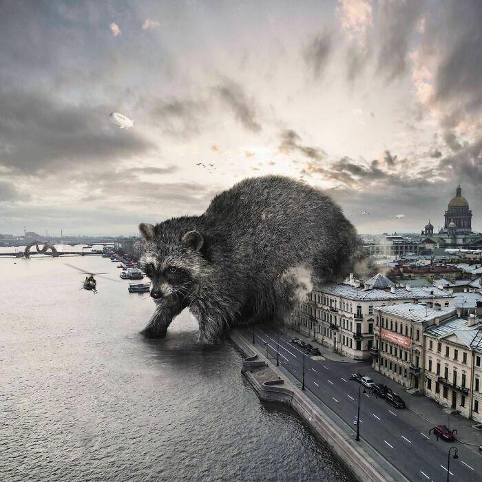 30 montagem de fotos inesperadas com animais gigantes por Vadim Solovyev 29