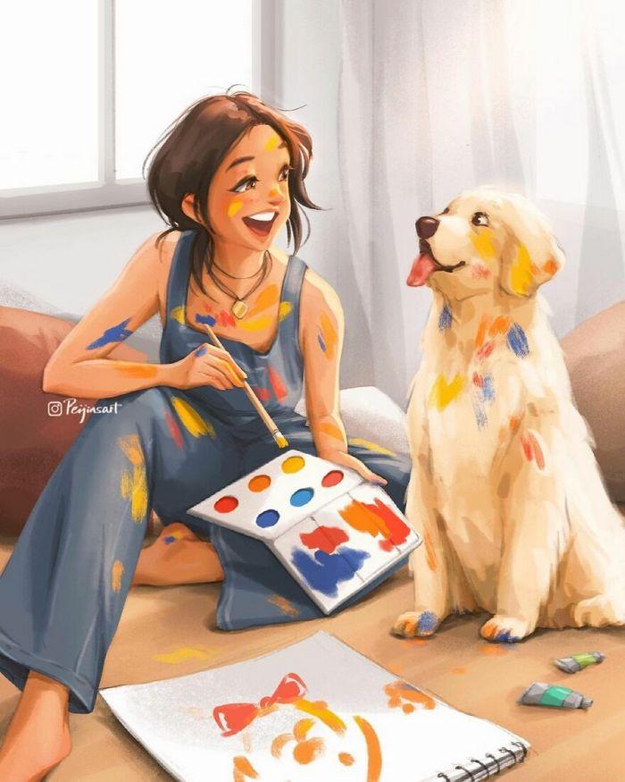 Artista ilustra fazer qualquer coisa com animais por perto é muito melhor (29 fotos) 17