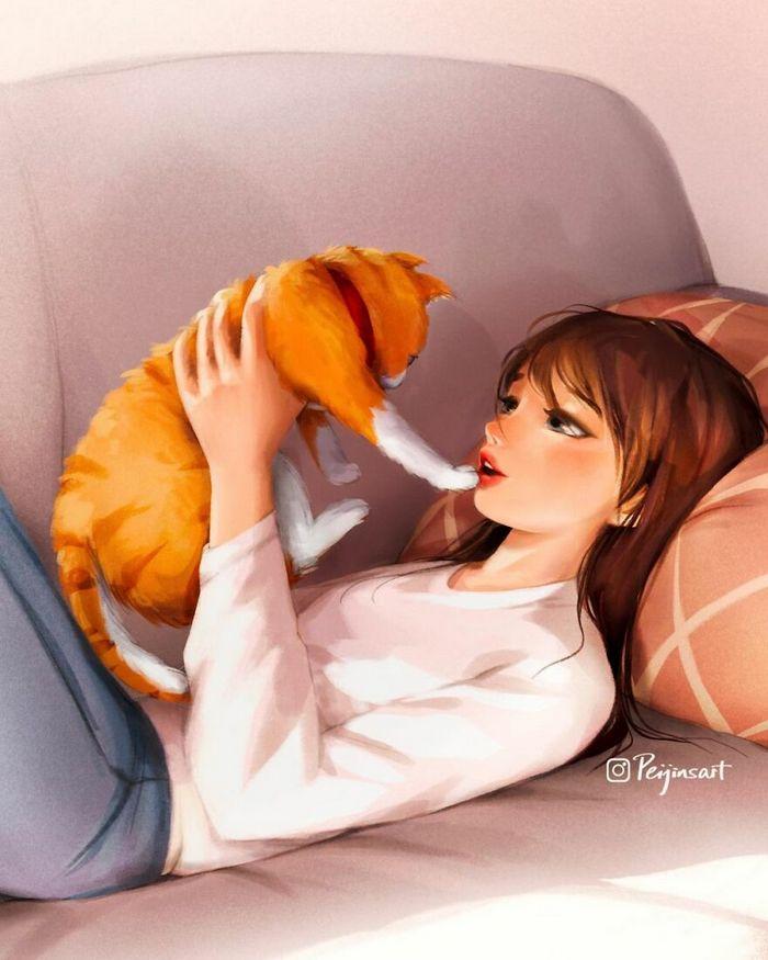 Artista ilustra fazer qualquer coisa com animais por perto é muito melhor (29 fotos) 28