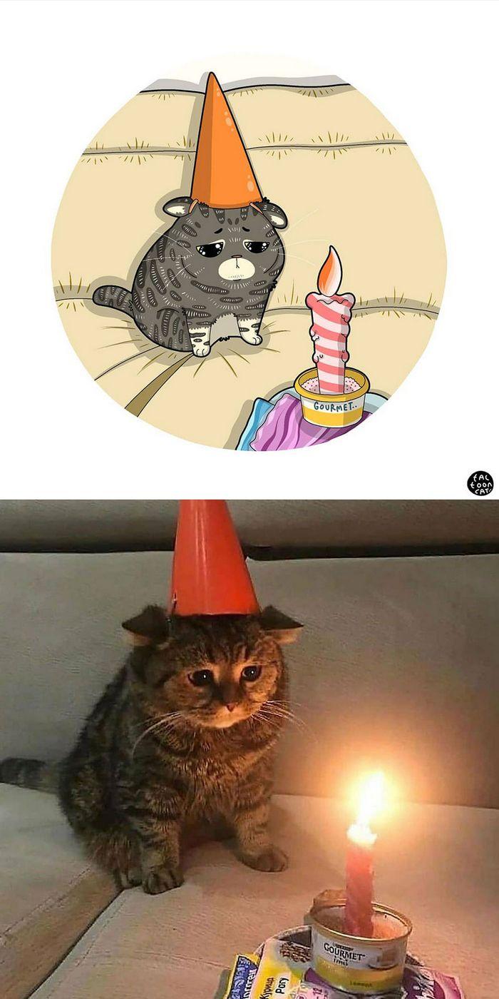 Artista transforma fotos engraçadas de gatos em ilustrações (35 fotos) 8