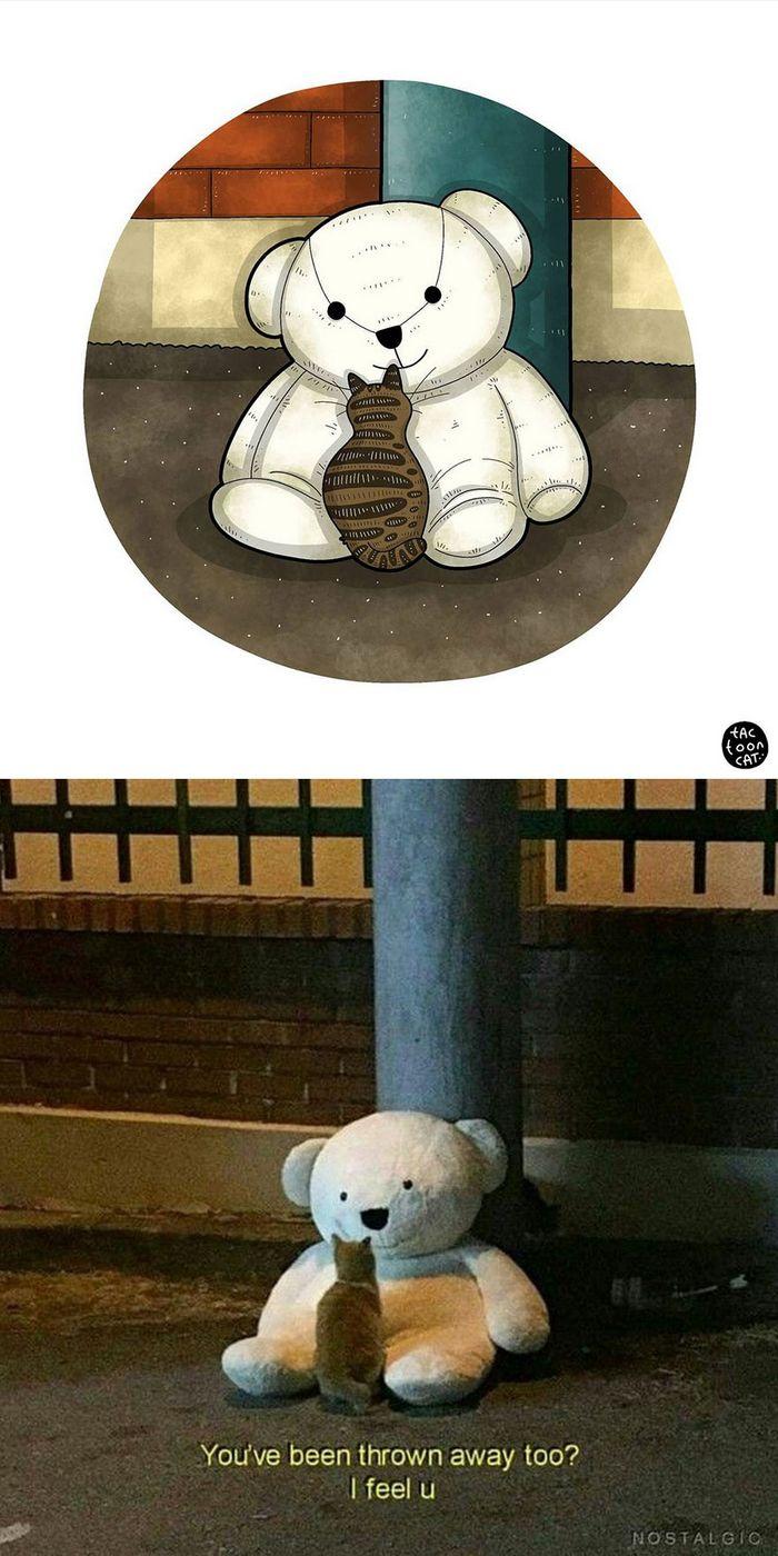 Artista transforma fotos engraçadas de gatos em ilustrações (35 fotos) 12