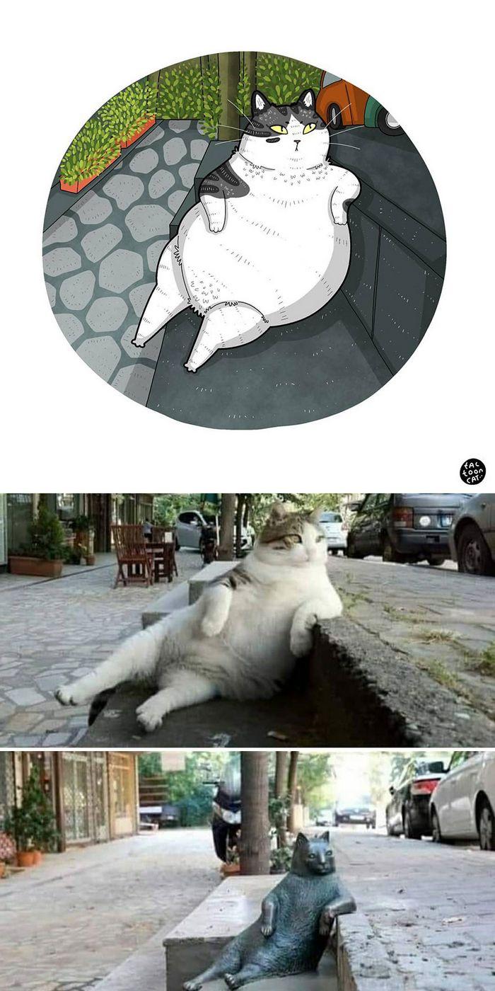 Artista transforma fotos engraçadas de gatos em ilustrações (35 fotos) 16