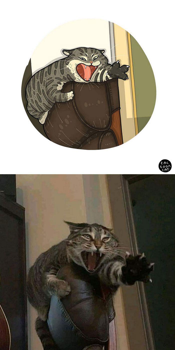 Artista transforma fotos engraçadas de gatos em ilustrações (35 fotos) 17