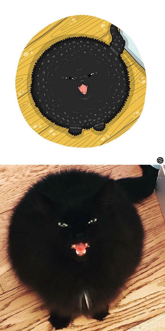 Artista transforma fotos engraçadas de gatos em ilustrações (35 fotos) 26