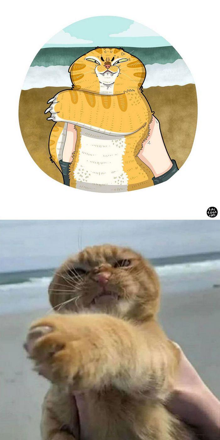 Artista transforma fotos engraçadas de gatos em ilustrações (35 fotos) 27