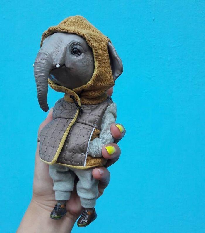 42 bonecos de animais de barro com roupas da moda 17