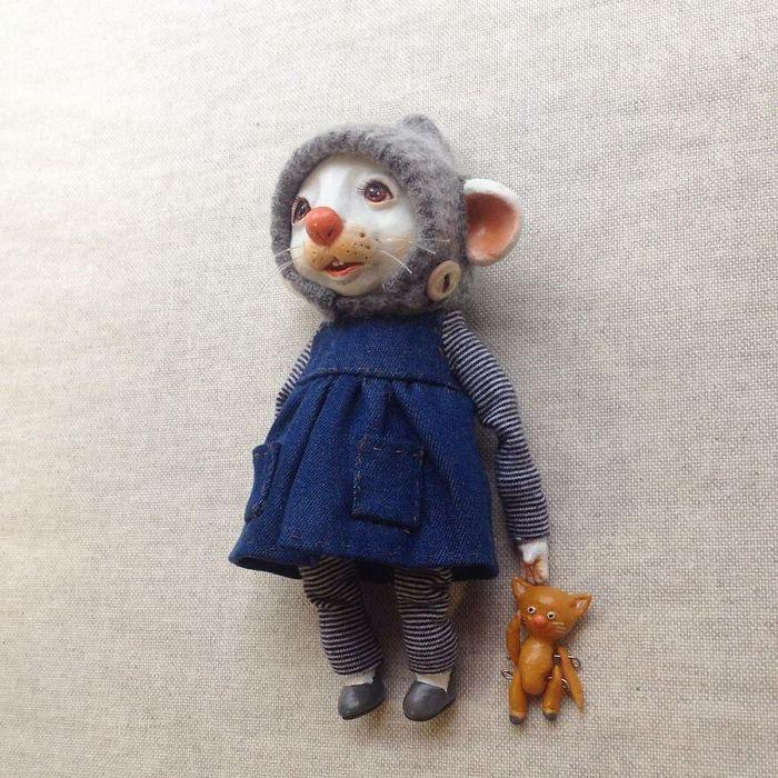 42 bonecos de animais de barro com roupas da moda 21