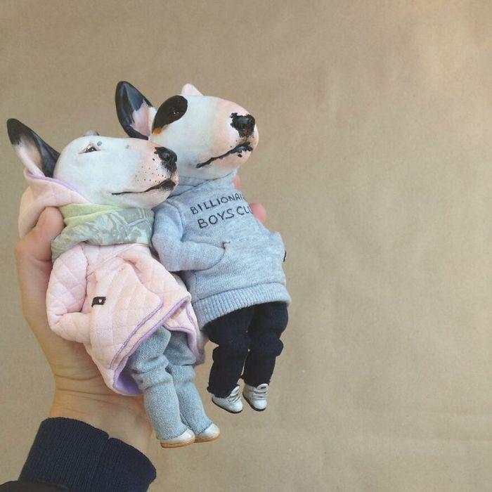 42 bonecos de animais de barro com roupas da moda 32