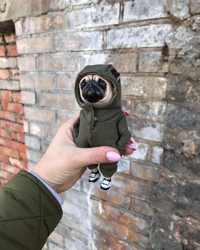 42 bonecos de animais de barro com roupas da moda 40