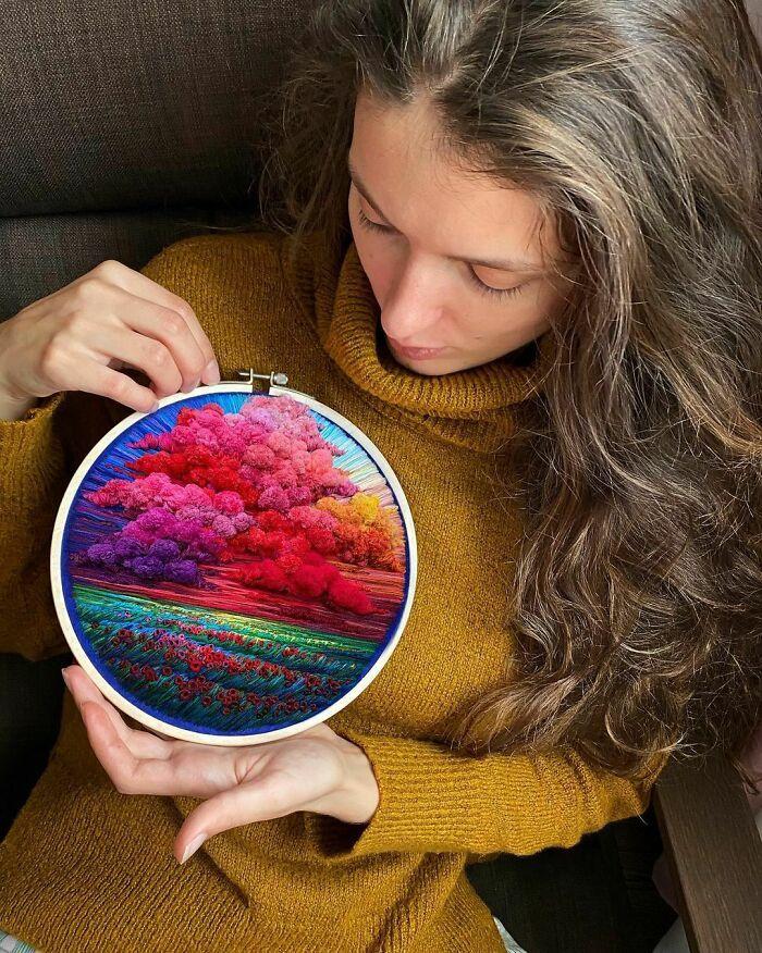 Artista usa bordado para criar incríveis cenas de paisagem (42 fotos) 2