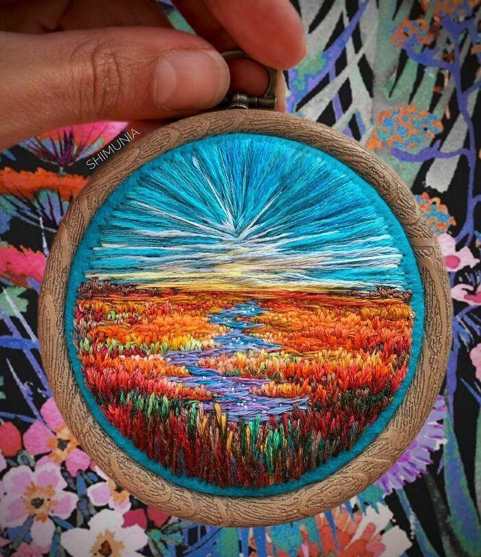 Artista usa bordado para criar incríveis cenas de paisagem (42 fotos) 3
