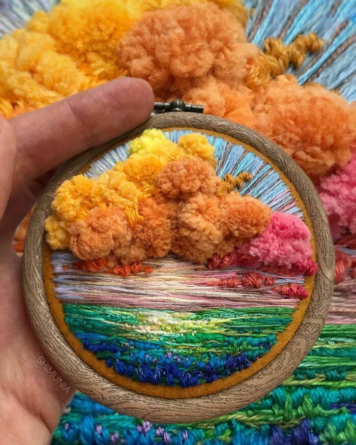 Artista usa bordado para criar incríveis cenas de paisagem (42 fotos) 7