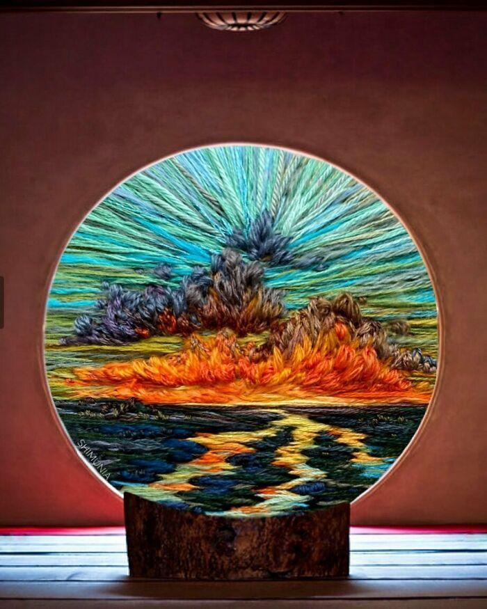 Artista usa bordado para criar incríveis cenas de paisagem (42 fotos) 11