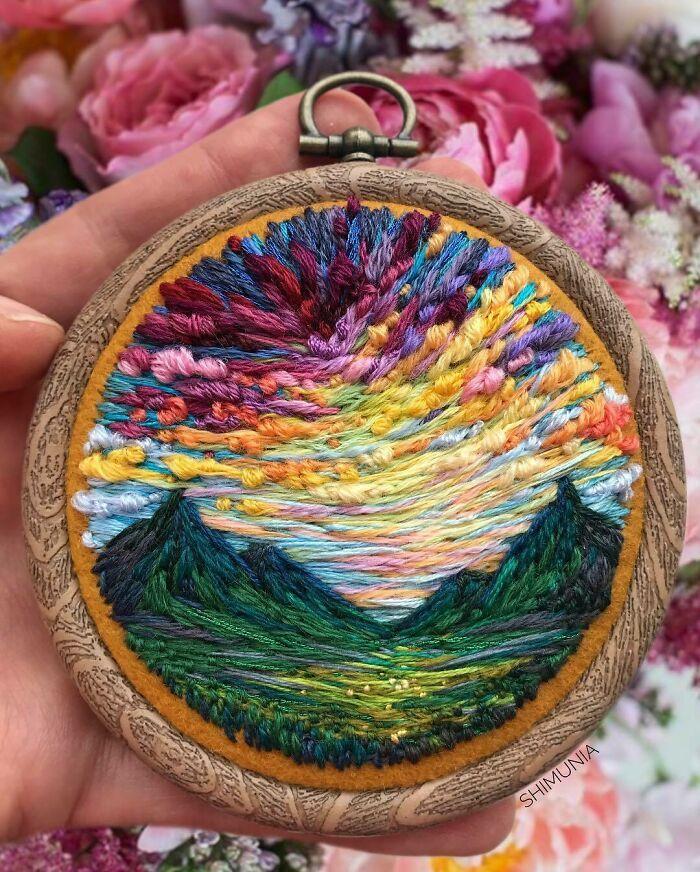 Artista usa bordado para criar incríveis cenas de paisagem (42 fotos) 13