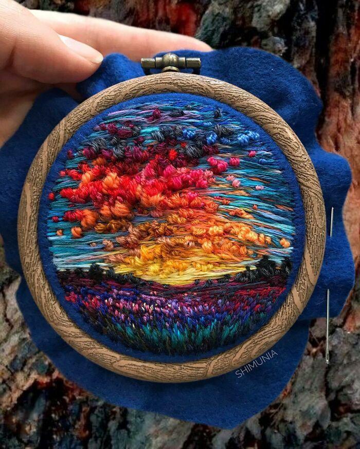 Artista usa bordado para criar incríveis cenas de paisagem (42 fotos) 14