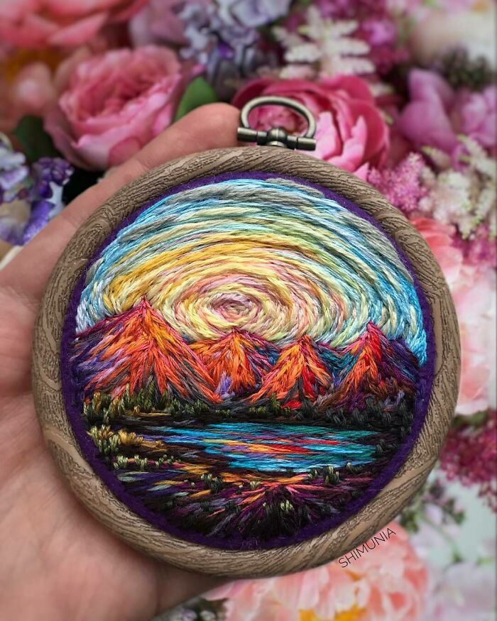 Artista usa bordado para criar incríveis cenas de paisagem (42 fotos) 16