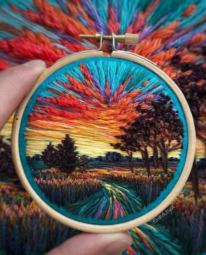 Artista usa bordado para criar incríveis cenas de paisagem (42 fotos) 18