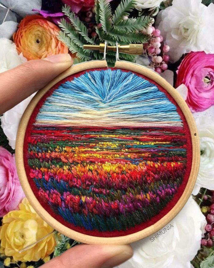 Artista usa bordado para criar incríveis cenas de paisagem (42 fotos) 19
