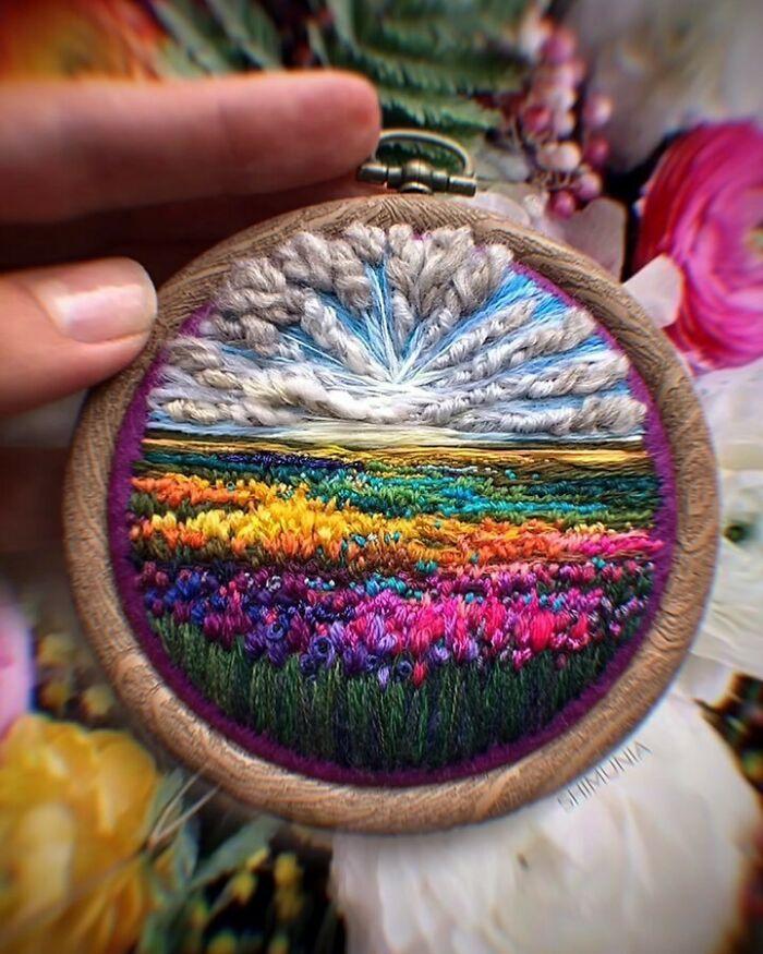 Artista usa bordado para criar incríveis cenas de paisagem (42 fotos) 21