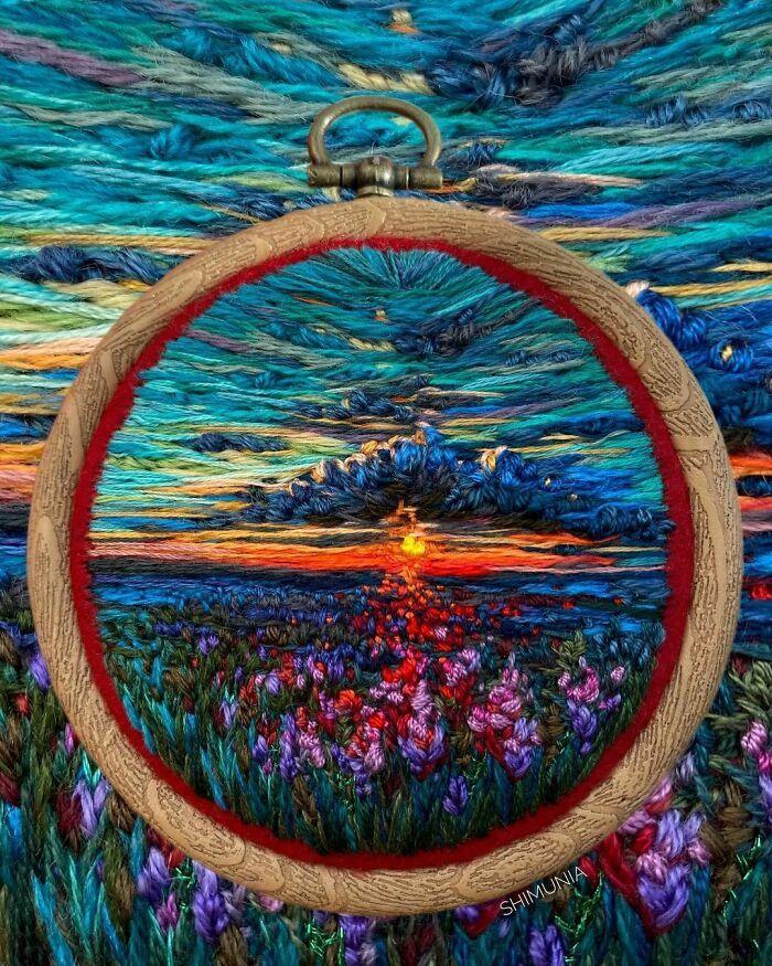 Artista usa bordado para criar incríveis cenas de paisagem (42 fotos) 23