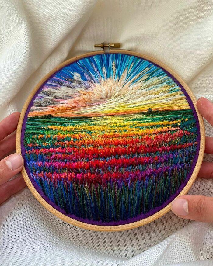 Artista usa bordado para criar incríveis cenas de paisagem (42 fotos) 28