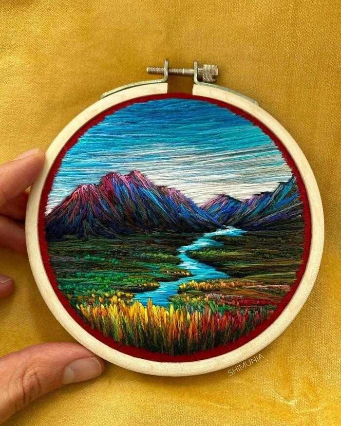 Artista usa bordado para criar incríveis cenas de paisagem (42 fotos) 29