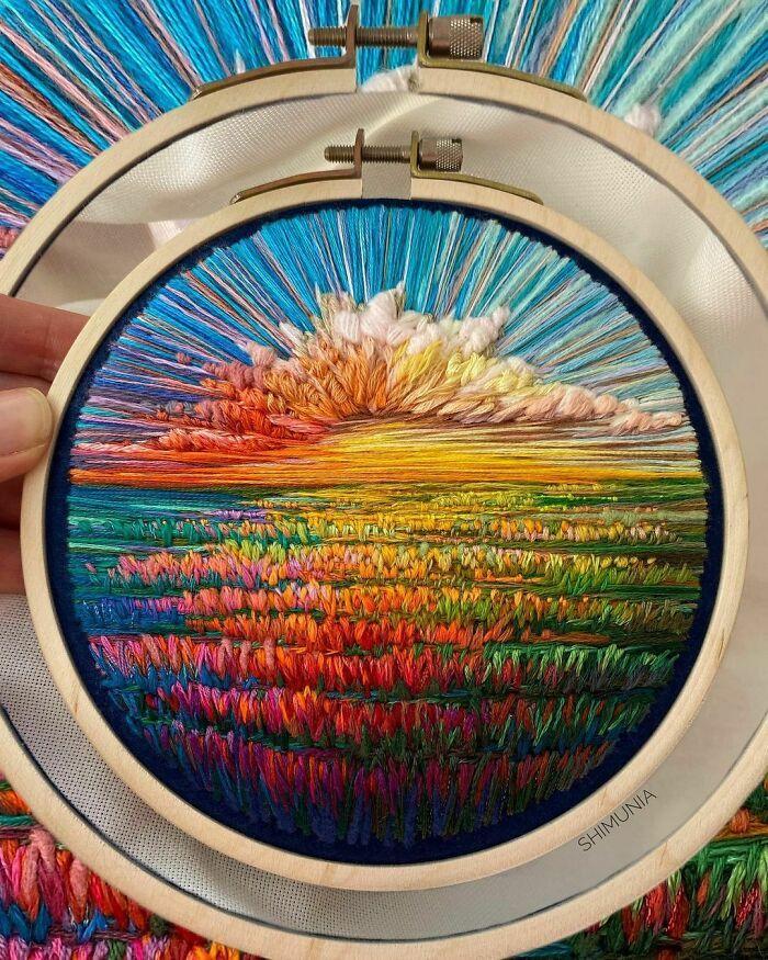 Artista usa bordado para criar incríveis cenas de paisagem (42 fotos) 36