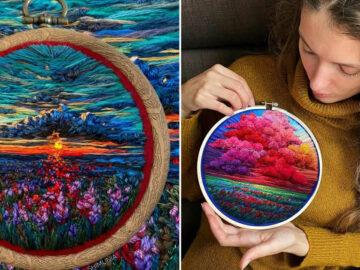 Artista usa bordado para criar incríveis cenas de paisagem (42 fotos) 15