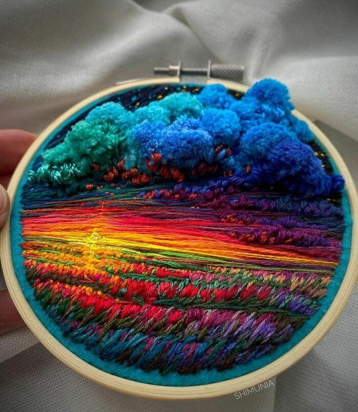 Artista usa bordado para criar incríveis cenas de paisagem (42 fotos) 38