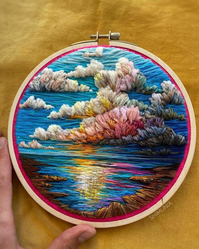 Artista usa bordado para criar incríveis cenas de paisagem (42 fotos) 39