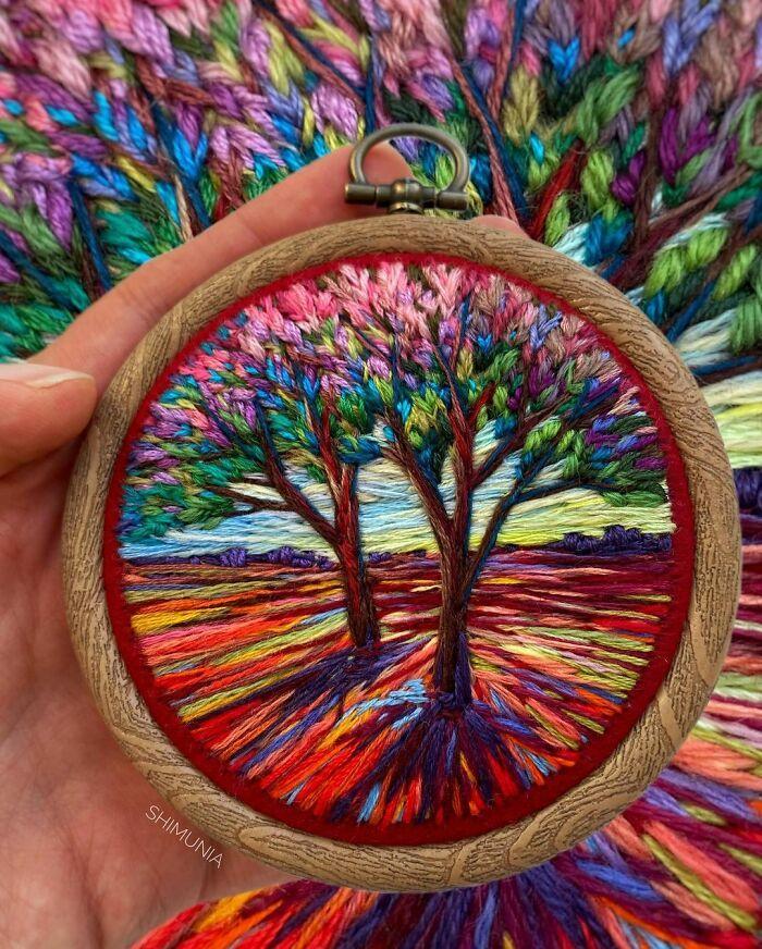 Artista usa bordado para criar incríveis cenas de paisagem (42 fotos) 42