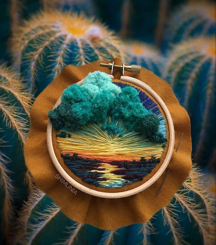 Artista usa bordado para criar incríveis cenas de paisagem (42 fotos) 43
