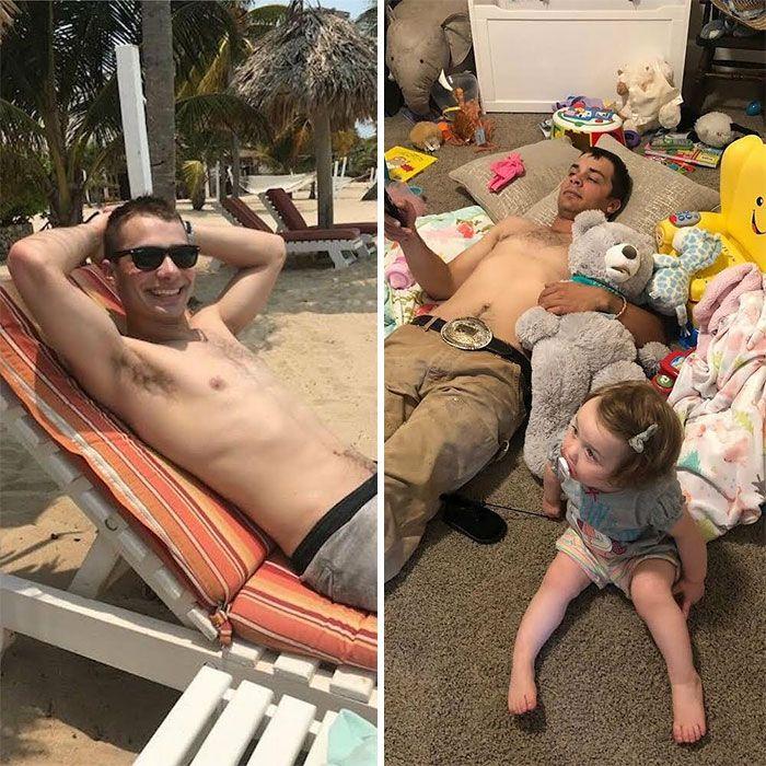 46 fotos hilárias de antes e depois de como a vida muda depois de ter filhos 6