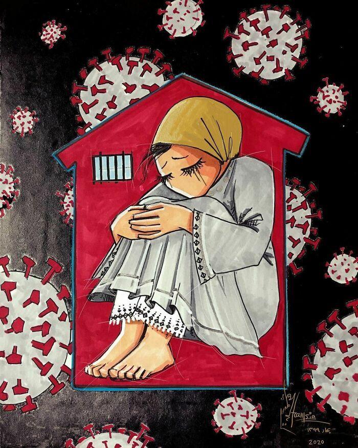 42 obras de arte tocantes da primeira artista de rua feminina do Afeganistão, Shamsia Hassani 8