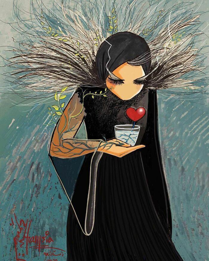 42 obras de arte tocantes da primeira artista de rua feminina do Afeganistão, Shamsia Hassani 23