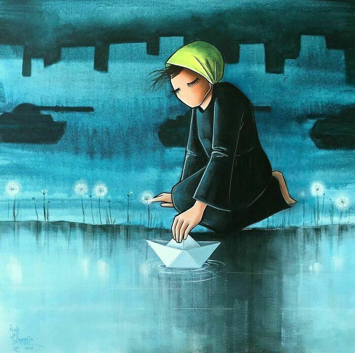42 obras de arte tocantes da primeira artista de rua feminina do Afeganistão, Shamsia Hassani 32