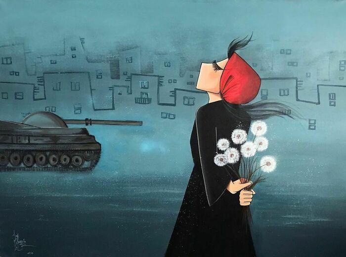 42 obras de arte tocantes da primeira artista de rua feminina do Afeganistão, Shamsia Hassani 40