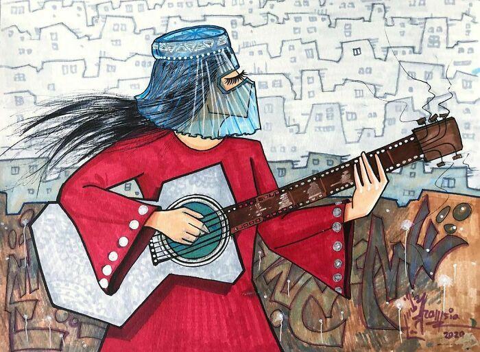 42 obras de arte tocantes da primeira artista de rua feminina do Afeganistão, Shamsia Hassani 41