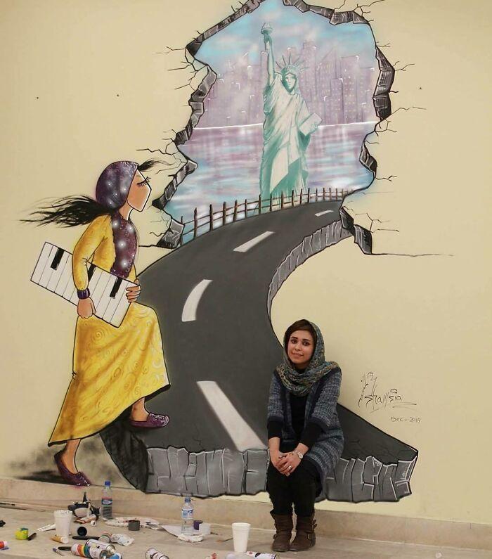 42 obras de arte tocantes da primeira artista de rua feminina do Afeganistão, Shamsia Hassani 45