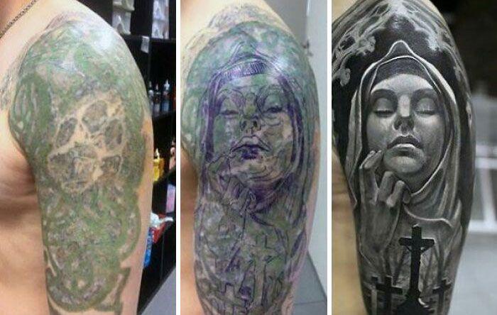38 pessoas que cobriram suas tatuagens de forma para lá de criativas 2
