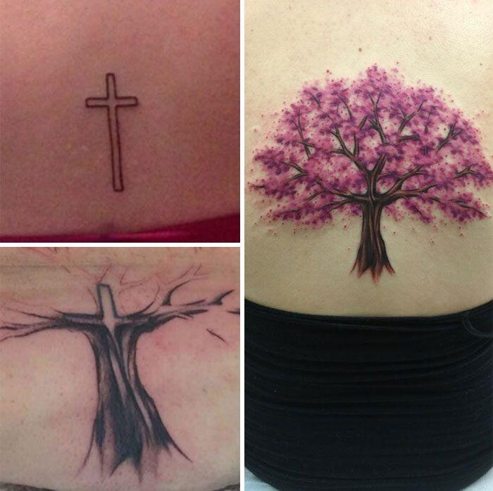 38 pessoas que cobriram suas tatuagens de forma para lá de criativas 4