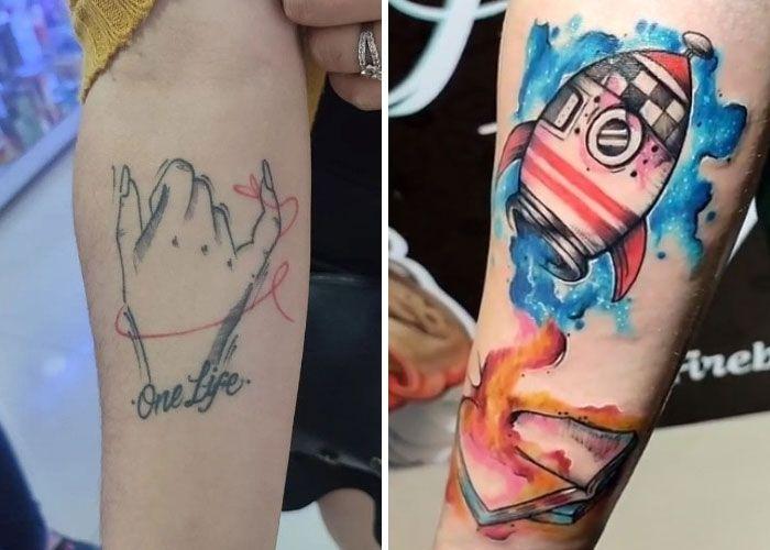 38 pessoas que cobriram suas tatuagens de forma para lá de criativas 7