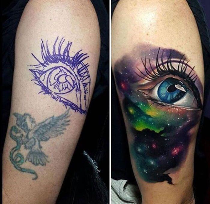 38 pessoas que cobriram suas tatuagens de forma para lá de criativas 8