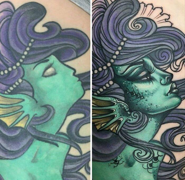 38 pessoas que cobriram suas tatuagens de forma para lá de criativas 11
