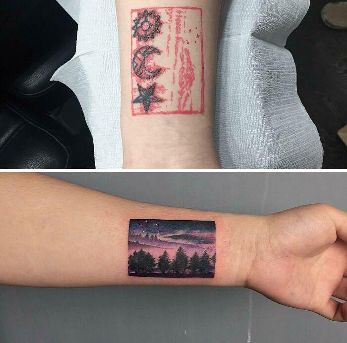 38 pessoas que cobriram suas tatuagens de forma para lá de criativas 14