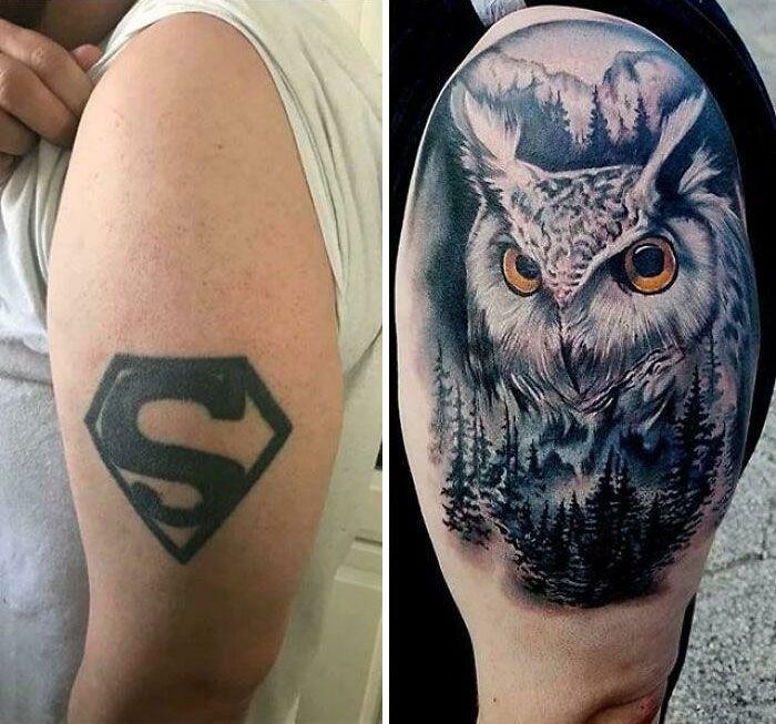 38 pessoas que cobriram suas tatuagens de forma para lá de criativas 15